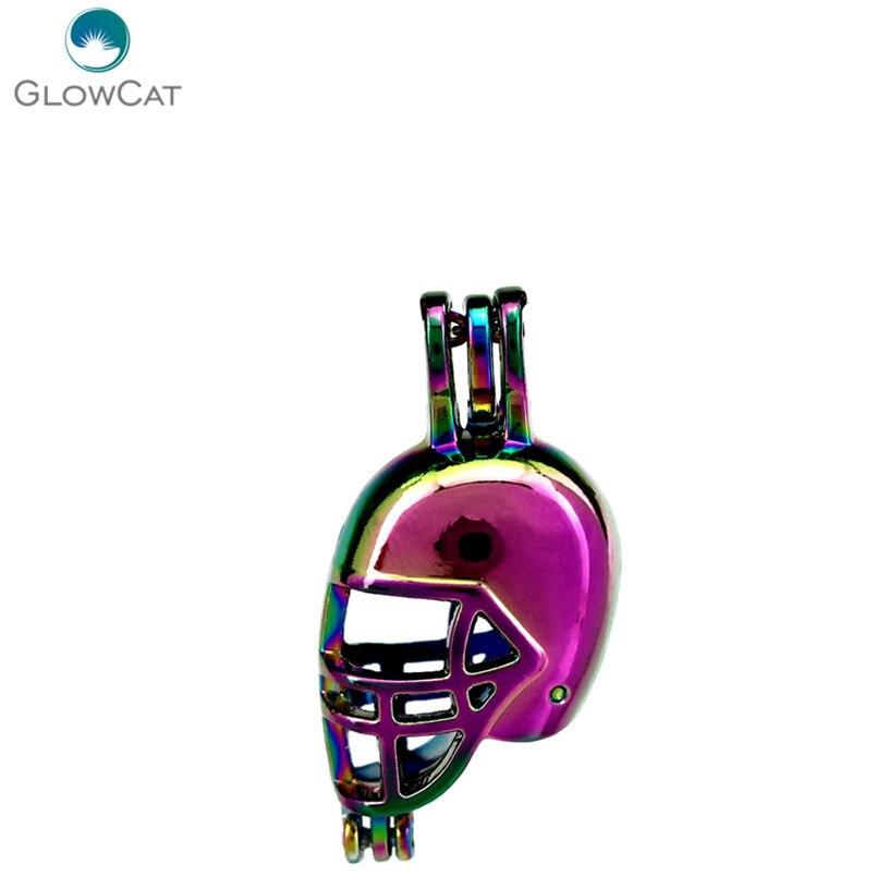 C648 5pcs/lot COLORS Rainbow Multicolor American Football Helmet Pendant Locket Fairytale Party Essential Oil Diffuser
