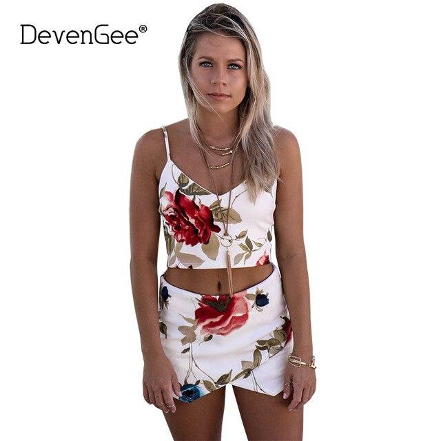 2d6c56fcfab1f DevenGee 2018 Summer Women Skirt Suits 2 Piece Set Sexy Floral Print Crop  Top and Short Skirt Set Ladies Two Piece Clothing Set