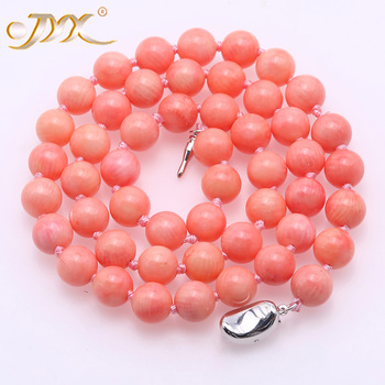 """JYX Fine 8-8.5mm Pink Round Sea Bamboo Coral Necklace 18.5"""""""