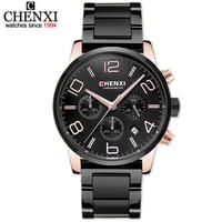 CHENXI Sports Multifunction Business Watch Men Wrist Watches Luxury Brand Steel Leather Strap Male Chronograph Quartz