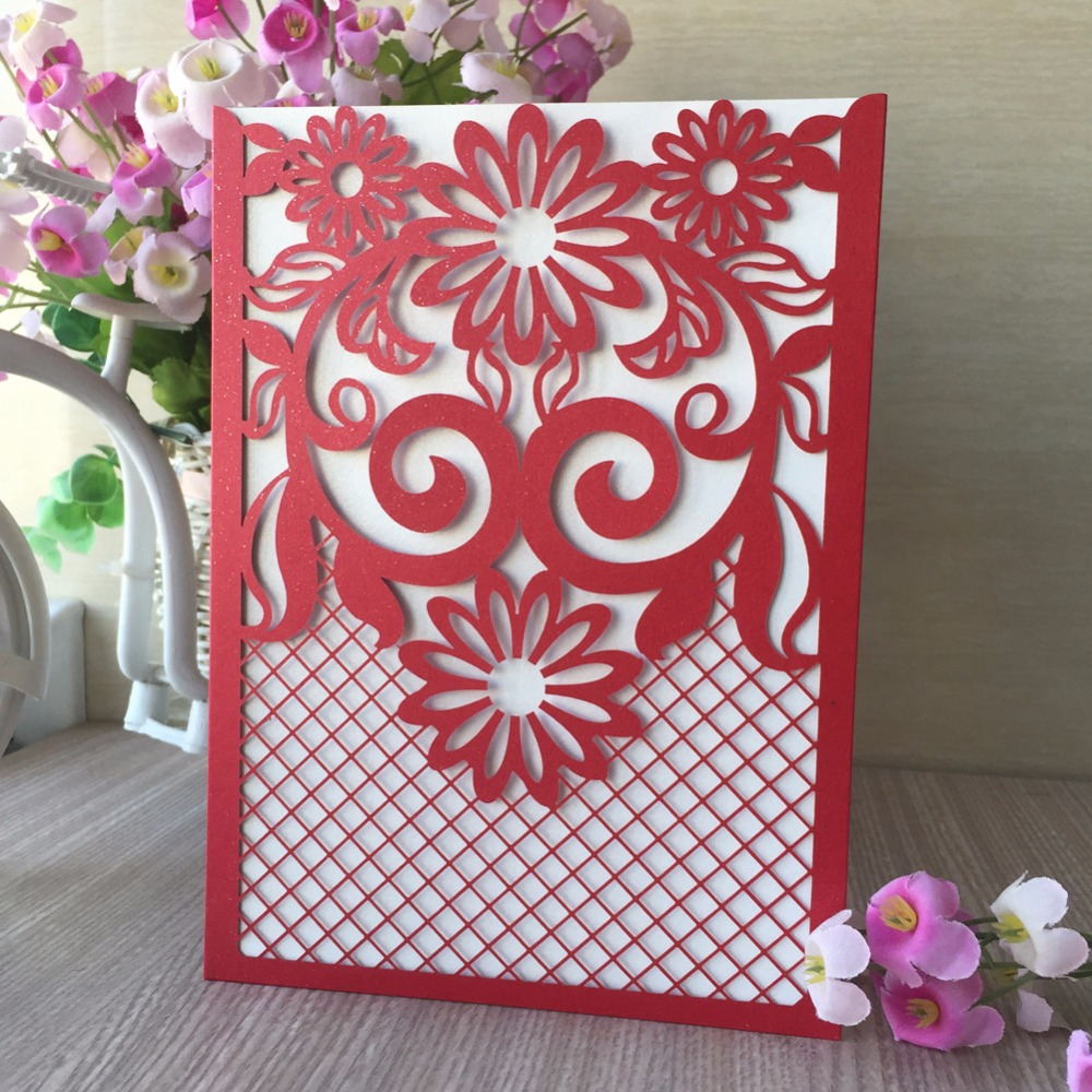 35pcs Pocket Laser Cut Flower Invitations Cards Kits for Wedding ...