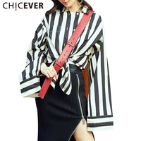 CHICEVER 2017 Autumn Two Pieces Set Women Striped Long Sleeve Single Breasted Tops Black Zipper Midi