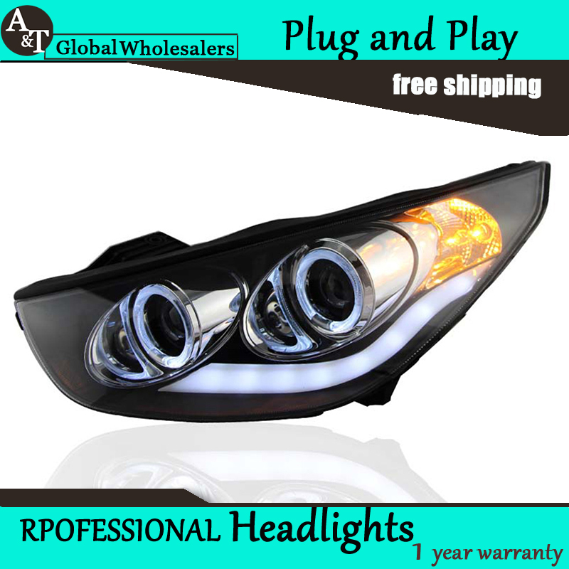 Car Styling for Angel Eye LED Headlight assembly Hyundai IX35 Headlights DRL Lens Double Beam H7 with hid kit 2 pcs. hireno headlamp for 2004 10 hyundai elantra headlight headlight assembly led drl angel lens double beam hid xenon 2pcs