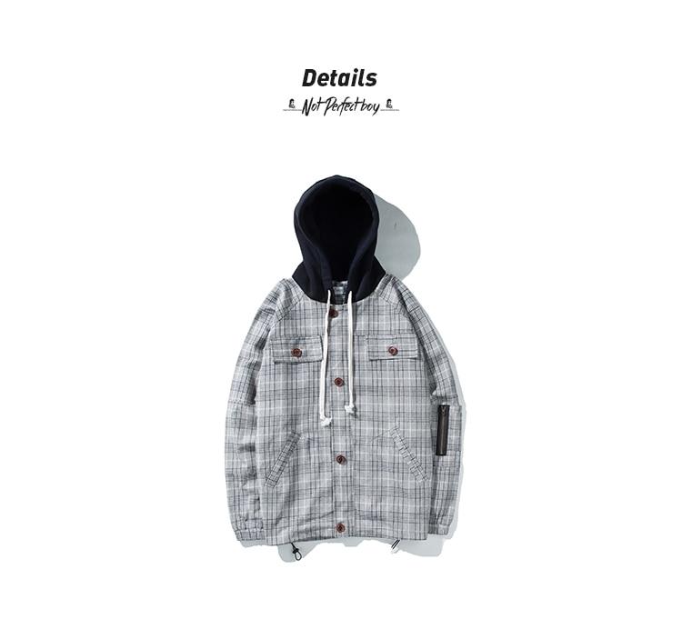 e7729f516 Mens Patchwork Plaid Bomber Jacket 2018 Harajuku Hooded Windbreaker Jackets  And Coats Male Korean Fashions Clothing