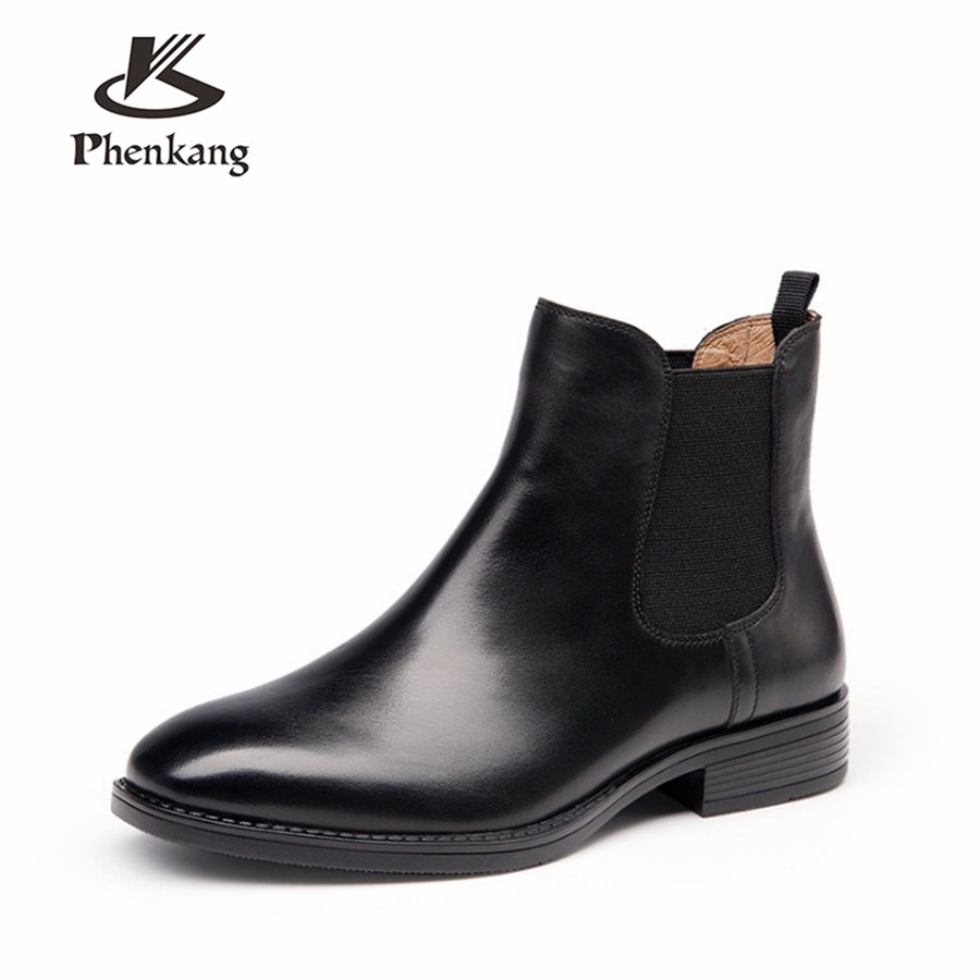 Genuine cow Leather Ankle chelsea Boots women Comfortable quality soft Shoes Designer Handmade 2018 winter black