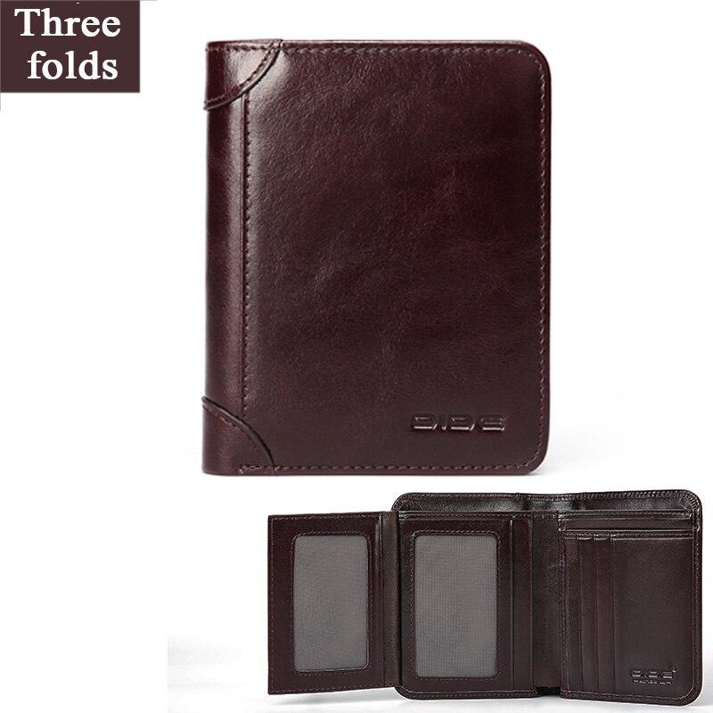 Купить с кэшбэком DIDE Luxury Brand Men Wallet 100% Genuine Leather Man Short Wallet Male Wallet Vintage Purse Standard Card Holders Wallets