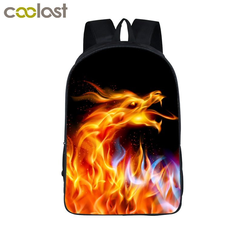 Fire Dragon Backpacks For Teenage Boys Girls Animal Print Kids Backpack Adolescent Children School Bags Roaring Tiger Book Bag