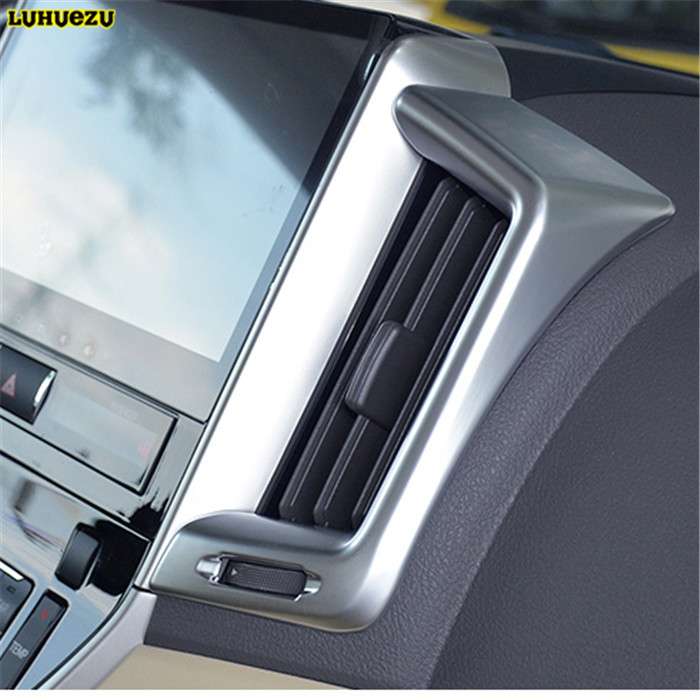 Luhuezu Wooden/Silver Middle Interior Air Conditoner Trim Styling Trims For Toyota Land Cruiser 200 FJ200 Accessories 2016 2017