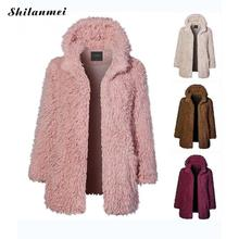 Casual Cardigan Fur Ladies Winter Women Pink Faux Fur Coat Fashion Open Front Solid Long Sleeve Hooded Artificial Fur Jackets open front sennit design hooded cardigan