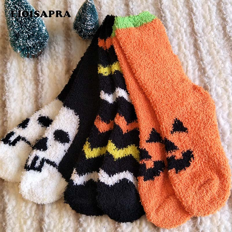 [EIOISAPRA]All Saints' Day Cartoon Socks Keep Warm Comfort Socks Women Fashion Harajuku Calcetines Lovely Breathable Funny Socks