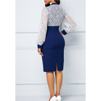 White Lace Summer Autumn Dress Women 2019 Casual Plus Size Slim Office Bodycon Dresses Elegant Sexy Long Sleeve Party Dress 5XL 3