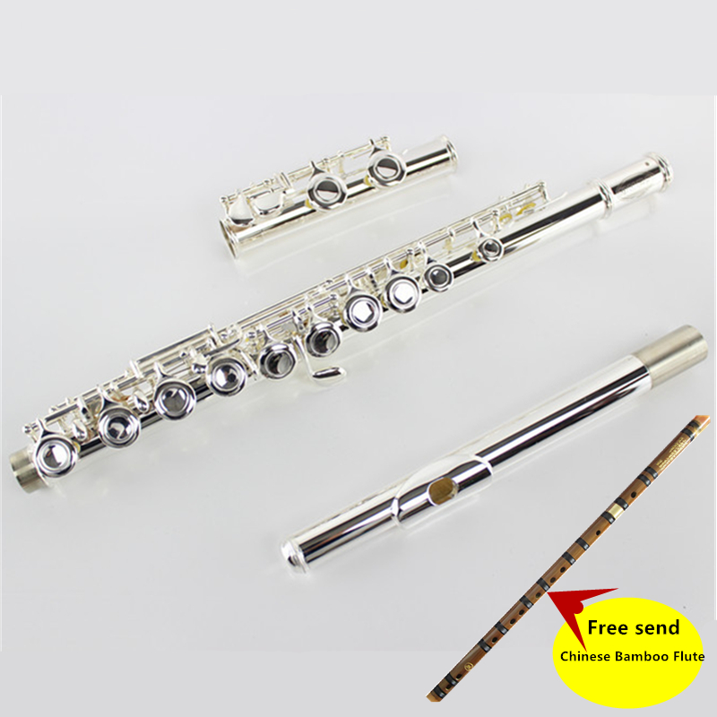 Top Japan flute YFL 271 16 hole Standard Nickel Silver Student Flauta obturator C Key with E key Free send Chinese Bamboo Flute very good gift silver to build 16 wells plus the e key obturator flute instrument