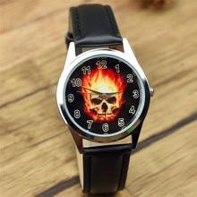 Marvel Super Hero Ghost Rider черепа способа часы наручные XAMS ребенок мальчик унисекс кварцевые кожа наручные часы