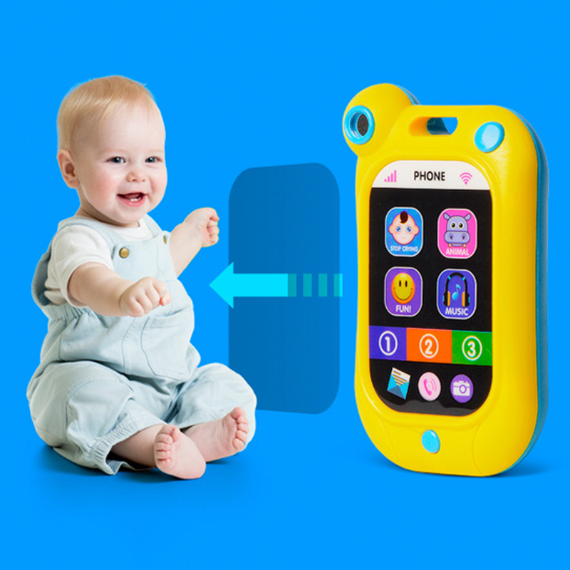 Phone Shape Kids Infant Stop Crying Machine Toys Mobile Phone Baby Education Simulation Baby Bed Vocal Toy Bell 13*7.5CM P20