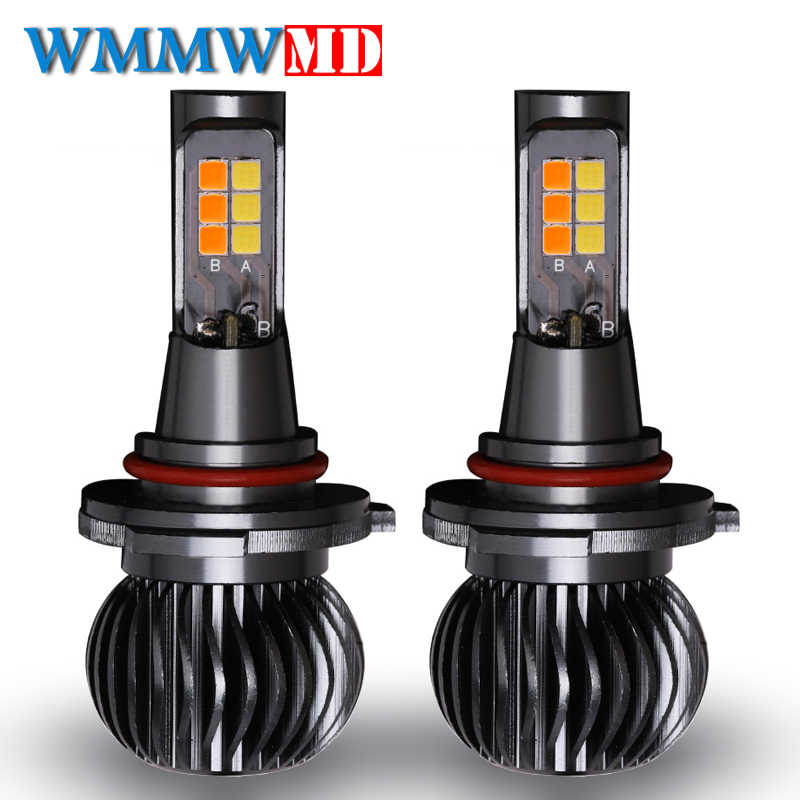 2Pcs/set H1 H3 H7 H11 9005 9006 H4 Front Headlight Fog Lamps Double Color Change LED 40W 5200LM Car Fog Light Bulb Car Styling