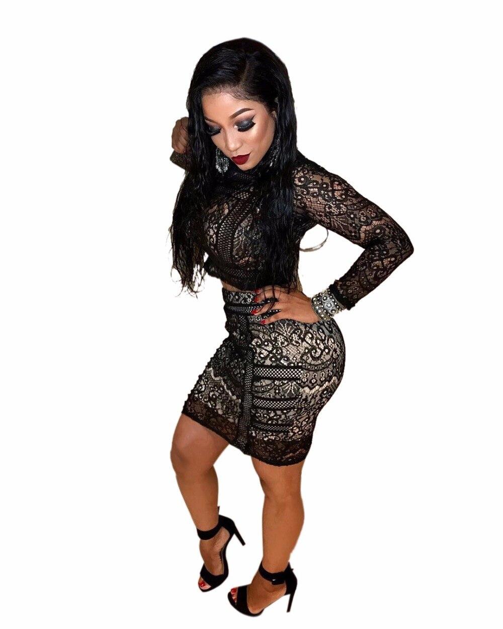 b1581ddc4261 Londinas Ark Store 2017 Black Lace Women Dress Two-Piece Set Fashion Outfits  Bandage Hollow