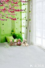 5x7ft Top Photography Background Green Elegant Curtain Children Baby Series Photo Studio Vinyl Printed Backdrops Bear Toy Props