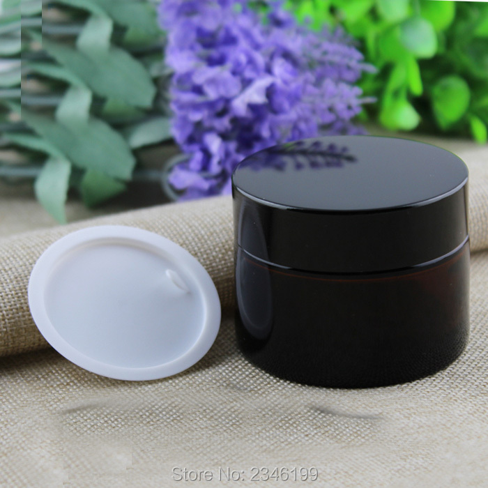 50G 50ML Amber Glass Cream Jar, Dark Brown Glass Container with Black Cap With Plastic Inner Lid, Hair Care Cream Pot, 15pcs/lot