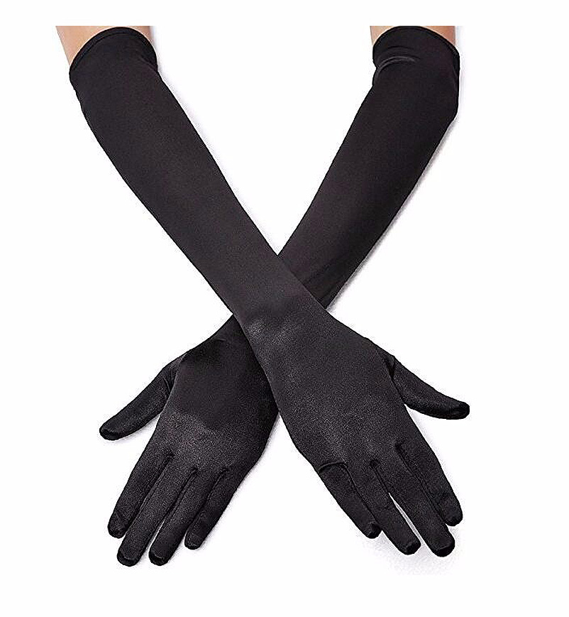One pair Classic Adult Opera/Elbow/Wrist Stretch Satin Finger Long Gloves Women Flapper handwear Gloves Matching Costume gloves