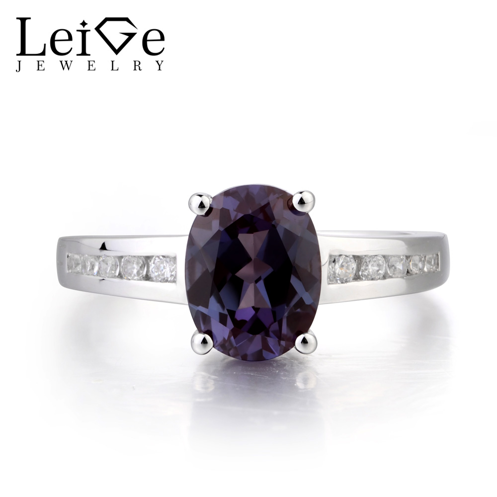 Leige Jewelry Proposal Ring Alexandrite Silver Ring June Birthstone Oval Cut Color Changing Gemstone 925 Sterling