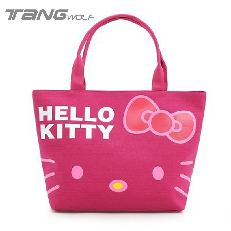 Amazing Lovely Hello Kitty Women Casual Shopping Bag Cartoon Handbags Oxford