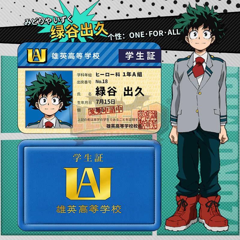 私のヒーロー学界僕なしヒーロー Akademia Izuku Midoriya Bakugou Shoto Tsuyu コスプレ学生カード飾り装飾