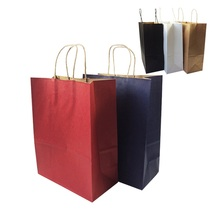 20pcs/lot Solid Color Gift Paper Bags With Handle 33*25*12cm Vertical Multifuntion Environment Friendly Packing