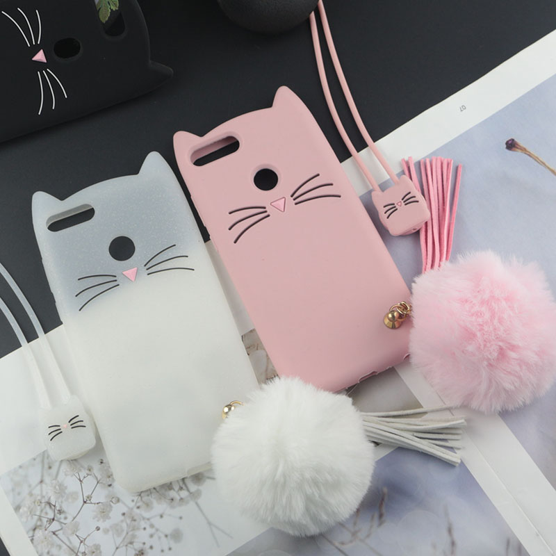 Cute 3D Cartoon Silicon Case For Huawei Honor 9 Lite Cases Glitter Beard Cat Lovely Ears Kitty Phone Cover For Honor 9i Honor9