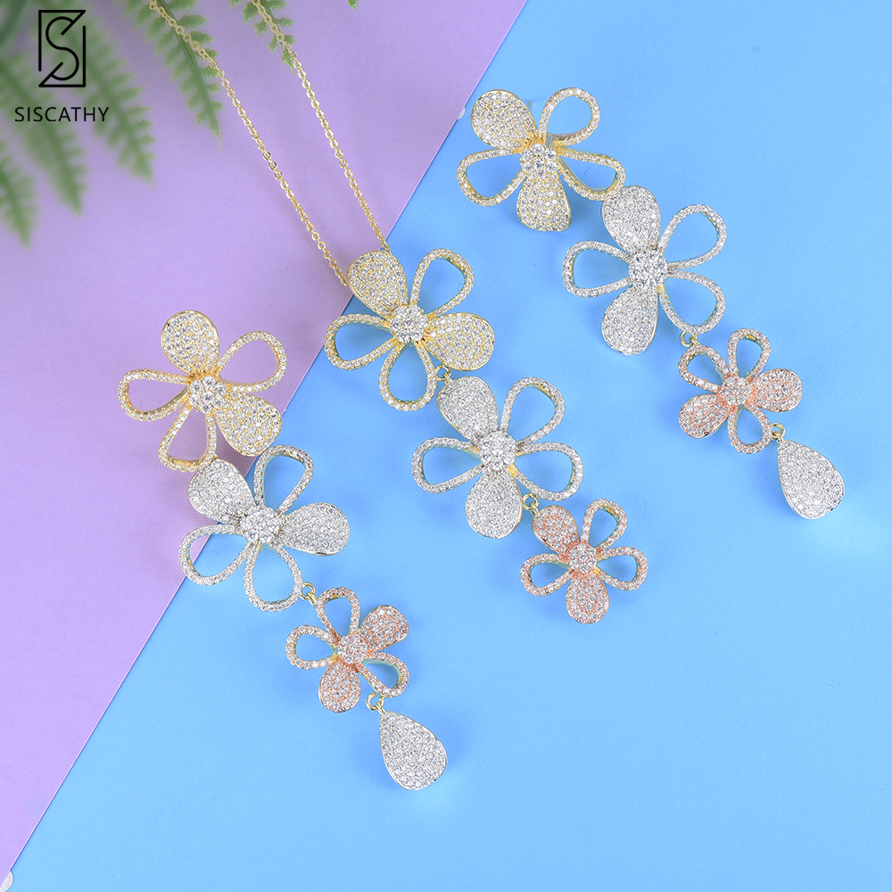 SisCathy 2019 New Hot Charms Blossom Flower Necklace Dangle Earrings Jewelry Sets Luxury Full Cubic Zirconia Inlaid Jewelry Sets in Jewelry Sets from Jewelry Accessories