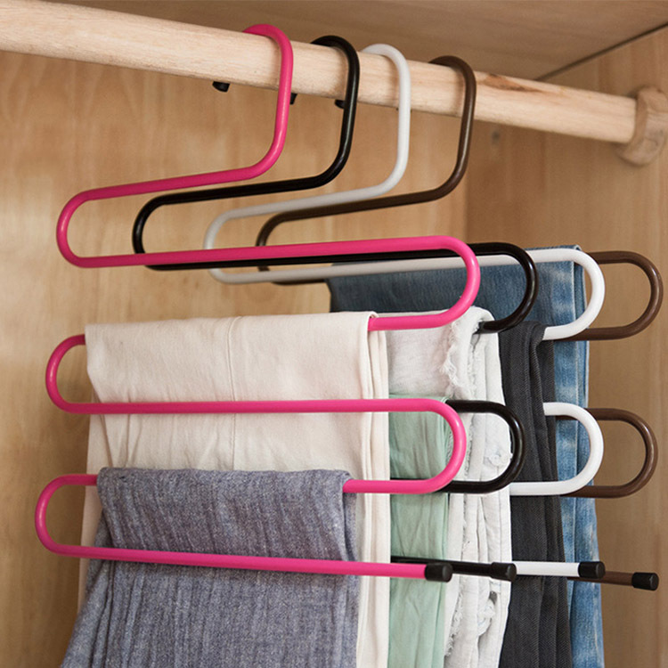 S-shaped 5 Layers Trousers Scarf Hanger Rack Bathroom Kitchen Organizer Pants Holder Tie Rack for Clothes Hanger -30