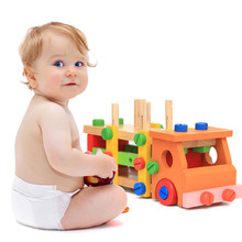 hot deal buy wood building blocks disassembling car early education toys intelligence development toy for kids assembled building blocks