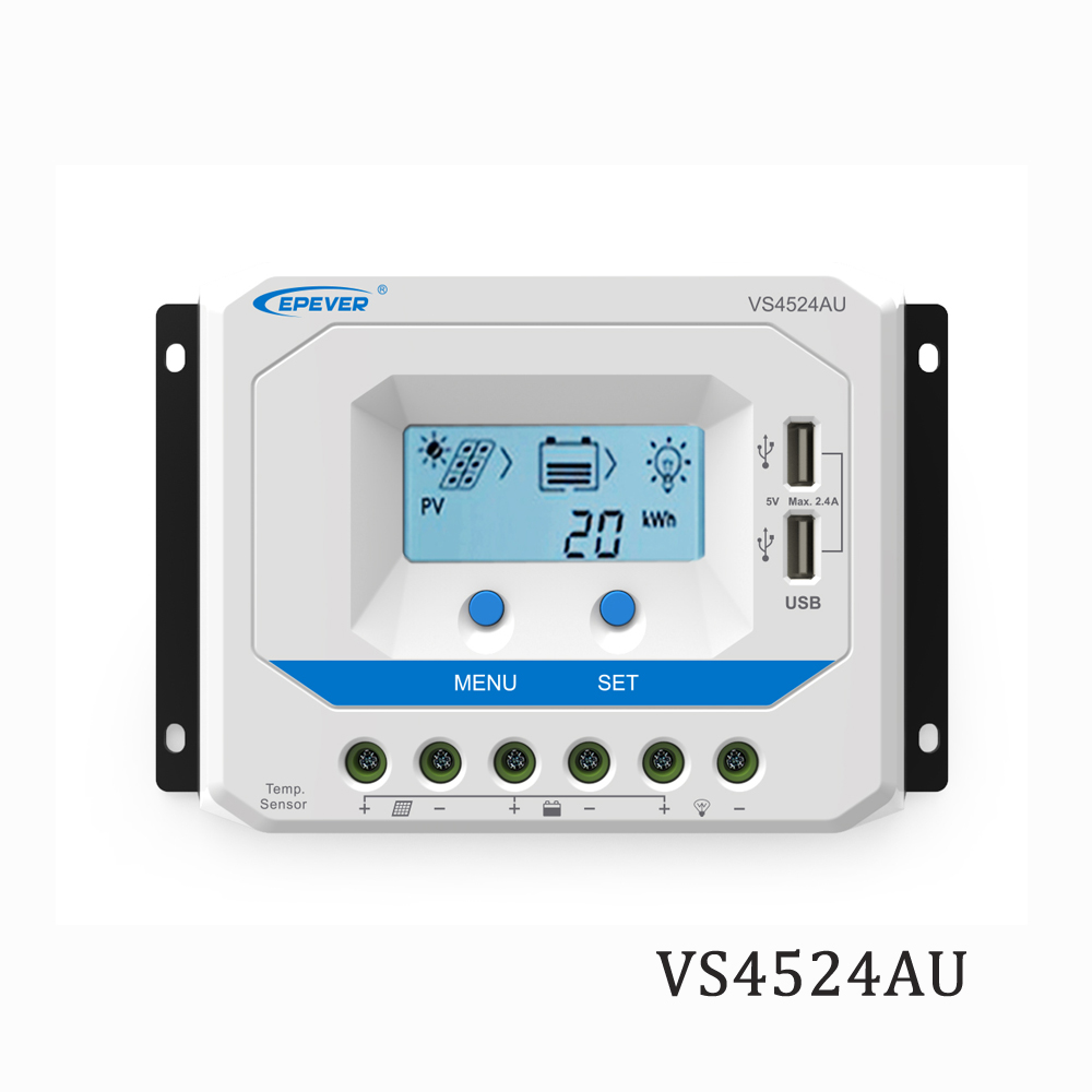 45A VS4524AU 12V 24V EPSolar PWM Solar Charge Controller Regulator LCD Backlight 5V Mobile phone charger45A VS4524AU 12V 24V EPSolar PWM Solar Charge Controller Regulator LCD Backlight 5V Mobile phone charger