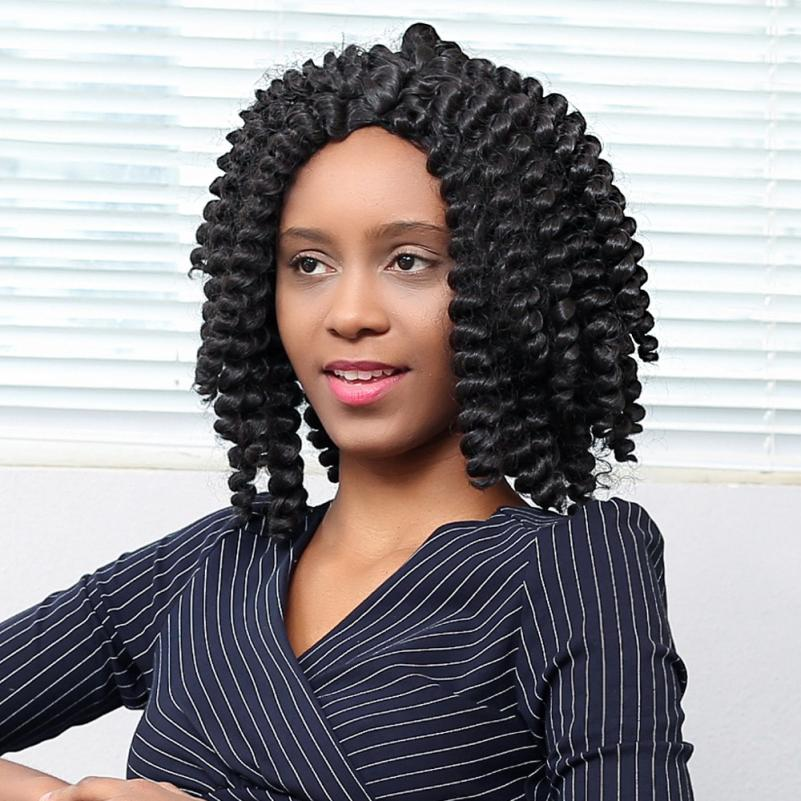 15inch Long Curly Synthetic Jumpy Wand Curl Twist Braiding Hair Extensions Ombre Black African Crochet Braids Hairstyles JU27. lace box braids wig synthetic black hair