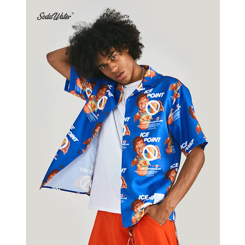 SODA WATER x Double Concept 2019 Summer Hip Hop Funny Graphic Printed Men Shirt Streetwear Short Sleeve Hawaiian Shirt ZJ9261S-in Casual Shirts from Men's Clothing