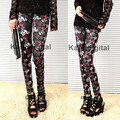 1 Pair Lady Girl Sexy Red Black Pirate Skull Pattern Soft Stretch Leggings Pants Christmas Gifts