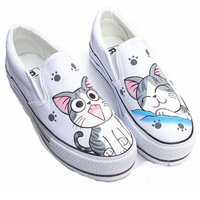 OMDS New Painted Cartoon Cat Children Canvas Shoes Boys and Girls Casual Shoes Set Foot Student Shoes Yxx