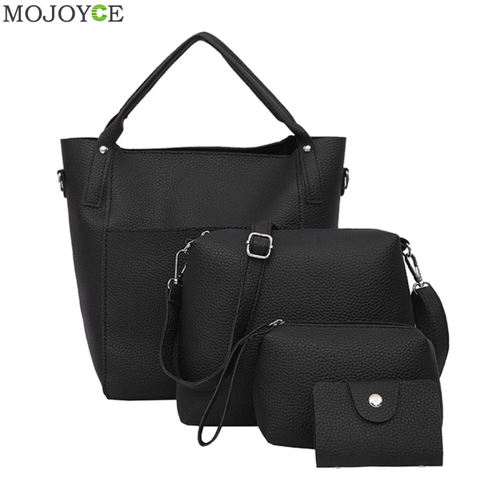 4PCS/Bag Set Women Shoulder Crossbody Bag Leather Handbag Lady Totes Large Messenger Composite Bags European Style 2017