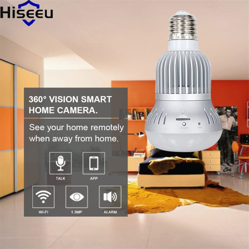 Hiseeu Wireless IP Camera 360 degree Bulb Light Wifi FishEye 1.3MP Home Security Baby Monitor HD 960P Full View Mini CCTV Camera new hd 3mp led bulb light wireless camera fisheye panoramic wifi network ip home security camera system for ios android p2p