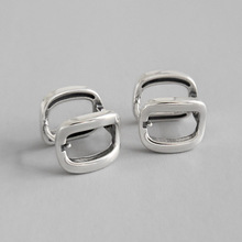 HFYK 925 Sterling Silver Earrings For Women Geometric Square Hollow Vintage Stud Jewelry pendientes mujer