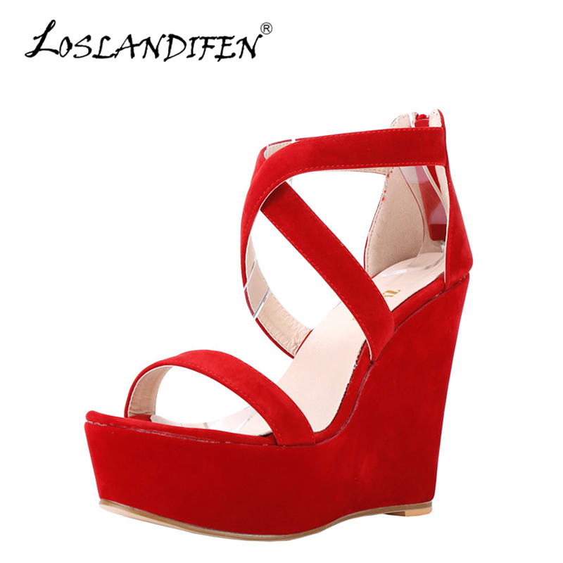 LOSLANDIFEN Gladiator Women Sandals Platform High Heels 14cm Wedges Sandals Sexy Open Toe Summer Casual Red Wedding Shoes Woman 2017 suede gladiator sandals platform wedges summer creepers casual buckle shoes woman sexy fashion beige high heels k13w