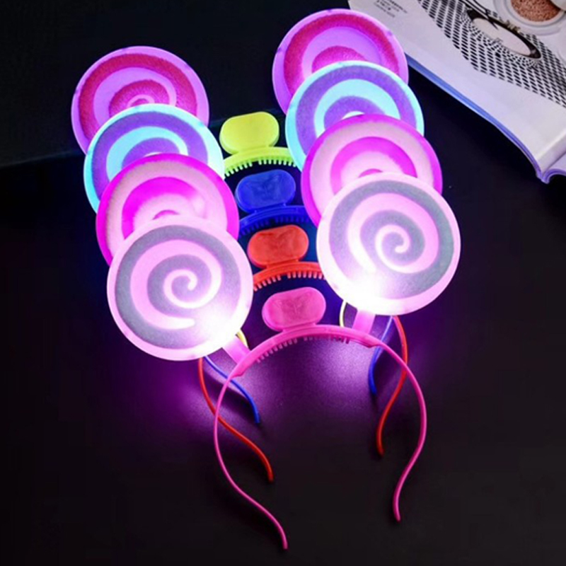 Christmas Halloween LEDFlashingGlow Headband Women Girls Lollipop Light Up Hairbands Hair Accessories Glow Party Supplies (4)