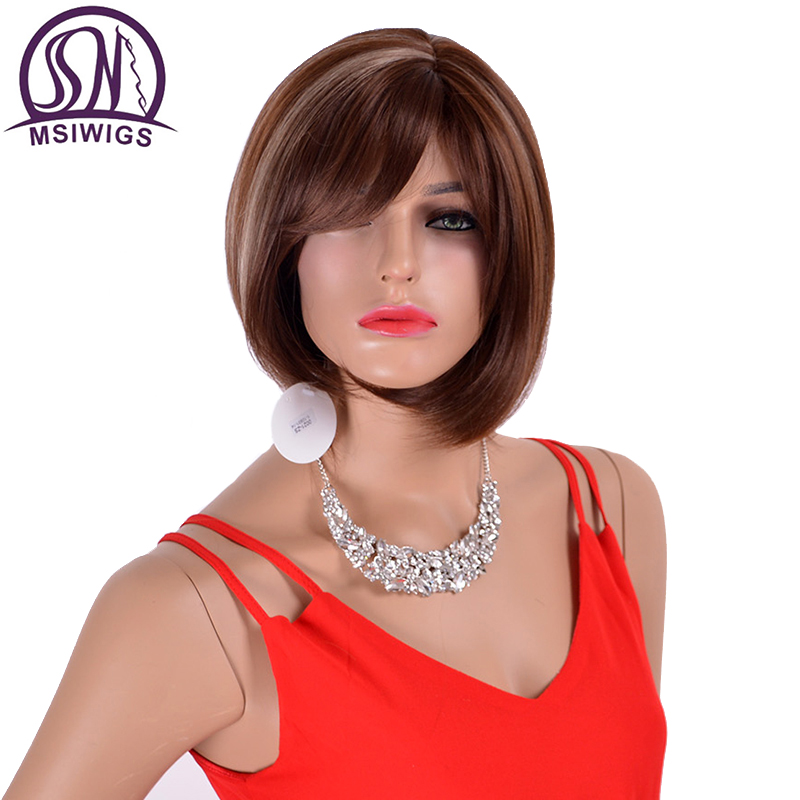 MSIWIGS Synthetic Short Straight Hair Wigs With Bangs Two Tone Colour Brown Wigs Side Bangs For Women