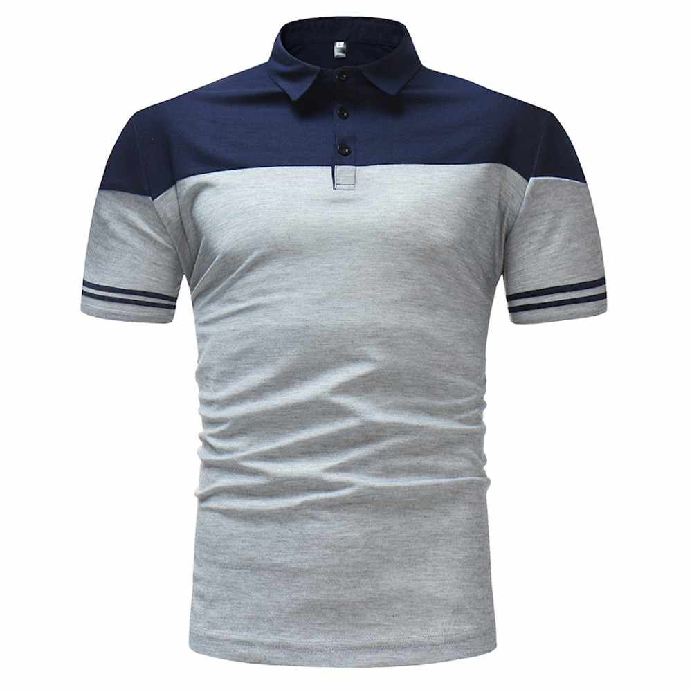 2019 Breathable Men's Polo Shirt For Men Desiger Polos Men Quick drying Short Sleeve shirt Clothes jerseys golftennis Gray Navy