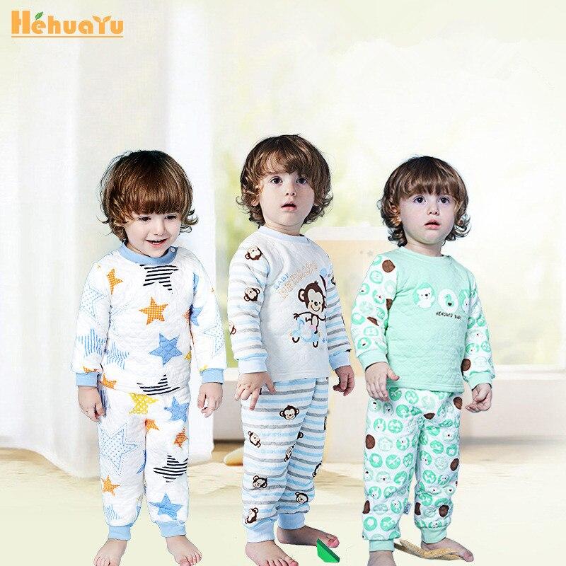 2017 Winter Kids Thermal Underwear Baby Boys Girls hehuayu Children Pajamas Pants Kids Cotton Plus Thick Velvet