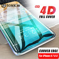 4D Glass For iPhone 7 X Glass Tempered Curved Edge Full Cover Tempered Glass for iPhone 7 6 6s Plus X 8 Plus Screen Protection