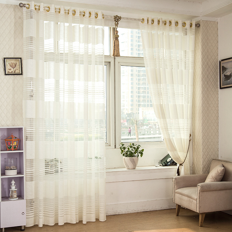 Sunnyrain 1 Piece Striped White Sheer Curtain For Living Room Curtain For Bedroom Drapes