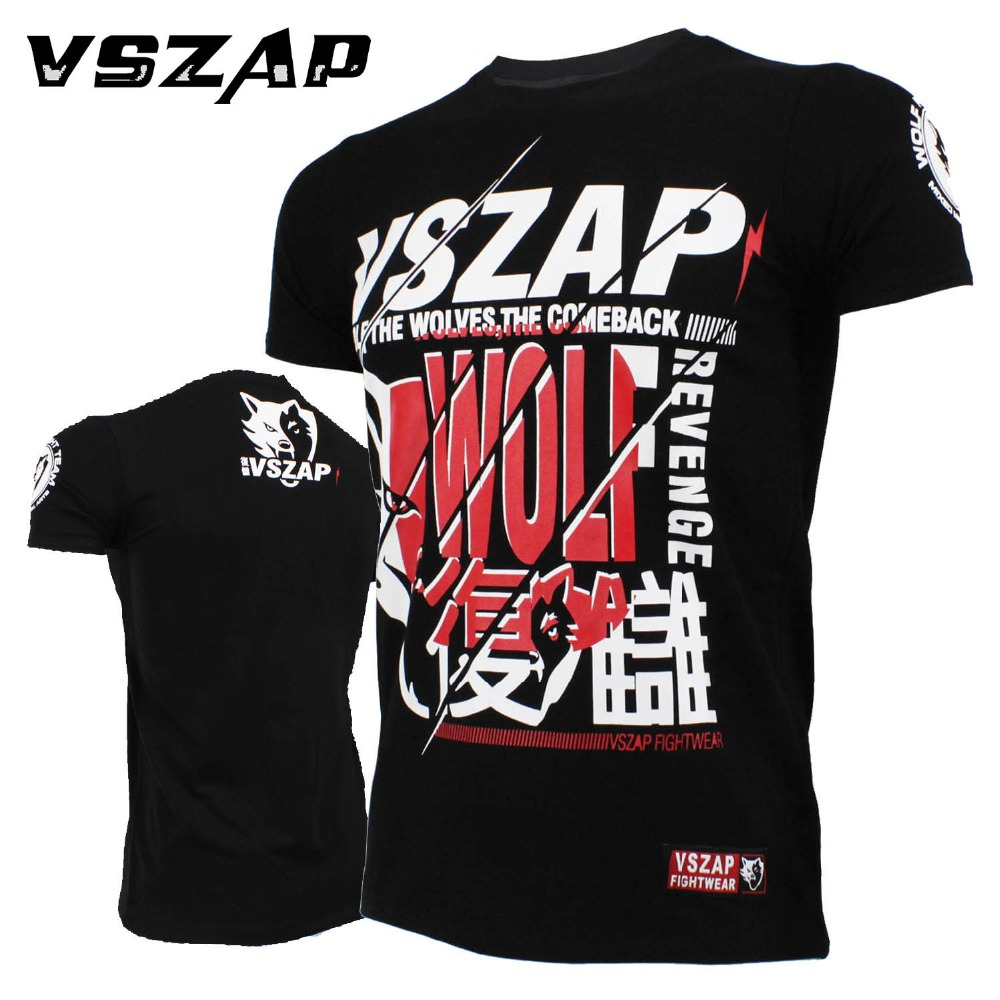 Boxing Jerseys VSZAP Mma T-shirt MMA Fitness Training Combat Fighting Wolf Running Muay Thai Cotton Breathable