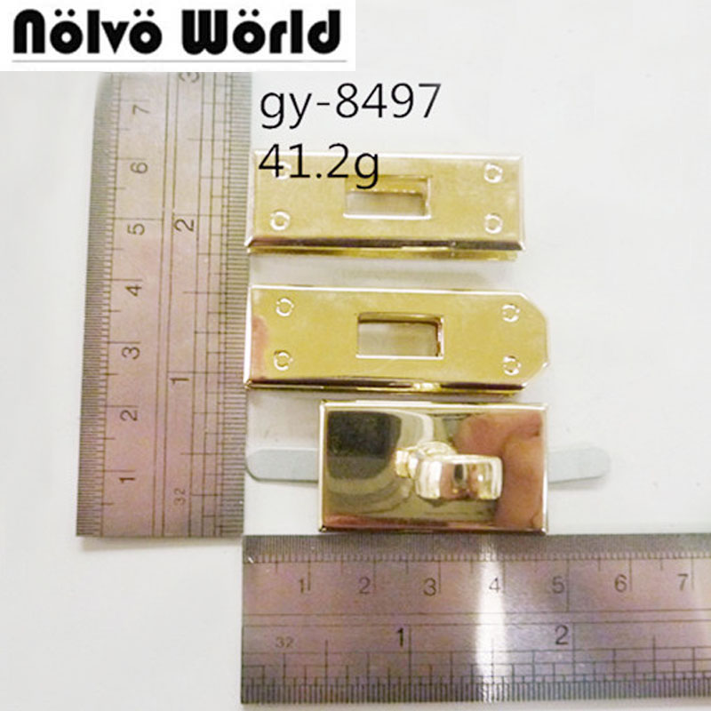 High quality gold silver color metal rectangle eyelets lock hanger panel for bags DIY hardware wholesale price,10 sets/lot diy triangle spanner panel lock w key silver