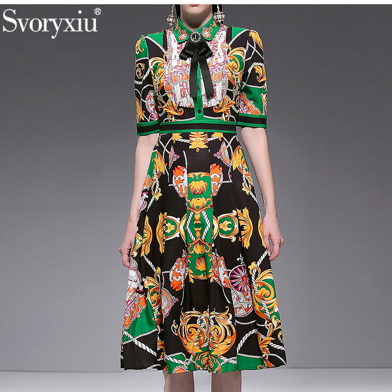Svoryxiu Fashion Designer Summer Party Dress Women's Short Sleeve luxury Diamond Bow Vintage Printed Pleated Dresses Vestdios-in Dresses from Women's Clothing    1