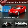 Высокая моделирования Автомобили, 1:32 Alfa Romeo 8C спортивный автомобиль, вытяните назад сплава автомобиля игрушки детей автомобиль, бесплатная доставка высокая моделирования